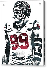 Jj Watt Houston Texans Pixel Art 4 Acrylic Print by Joe Hamilton