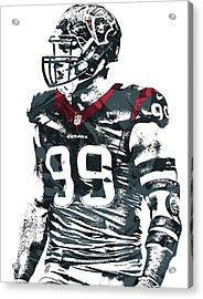 Jj Watt Houston Texans Pixel Art 6 Acrylic Print by Joe Hamilton