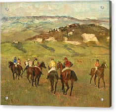 Jockeys On Horseback Before Distant Hills Acrylic Print by Edgar Degas