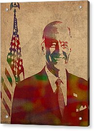 Joe Biden Watercolor Portrait Acrylic Print by Design Turnpike