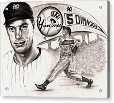 Joe Dimaggio Acrylic Print by Kathleen Kelly Thompson