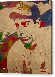 Joe Dimaggio New York Yankees Baseball Player Legend Sports Star Watercolor Portrait On Worn Canvas Acrylic Print by Design Turnpike