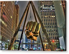 Joe Louis Fist Detroit Mi Acrylic Print by Nicholas  Grunas