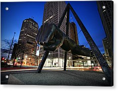 Joe Louis Fist Statue Jefferson And Woodward Ave. Detroit Michigan Acrylic Print by Gordon Dean II