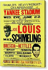 Joe Louis Vs Max Schmeling Acrylic Print by Bill Cannon