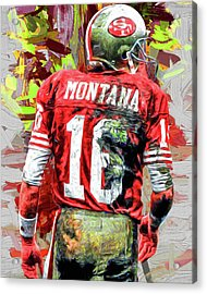 Joe Montana Football Digital Fantasy Painting San Francisco 49ers Acrylic Print by David Haskett