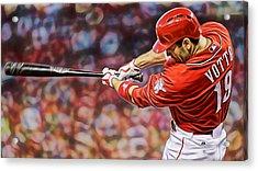 Joey Votto Baseball Acrylic Print by Marvin Blaine