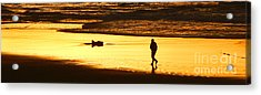 Acrylic Print featuring the photograph Jog At Sunset by Larry Keahey