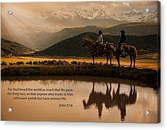 Acrylic Print featuring the photograph John 3 16 Scripture And Picture by Ken Smith