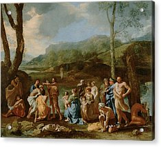 John Baptizing In The River Acrylic Print by Nicolas Poussin