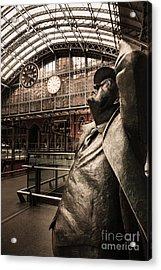 John Betjeman And Dent Clockat St Pancras Railway Station Acrylic Print