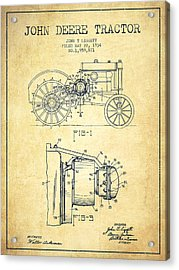 John Deere Tractor Patent Drawing From 1934 - Vintage Acrylic Print by Aged Pixel