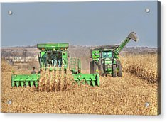 John Deere Combine Picking Corn Followed By Tractor And Grain Cart Acrylic Print