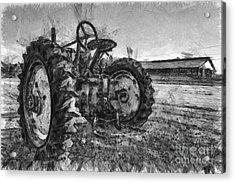 John Deere Pencil Drawing Acrylic Print by Edward Fielding