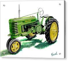John Deere Tractor Acrylic Print by Ferrel Cordle