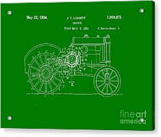 John Deere Tractor Patent Tee Acrylic Print by Edward Fielding