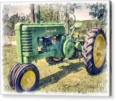 John Deere Vintage Tractor Watercolor Acrylic Print by Edward Fielding