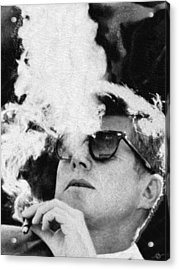 John F Kennedy Cigar And Sunglasses Black And White Acrylic Print