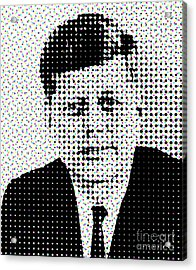 John F Kennedy In Dots Acrylic Print