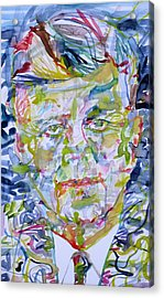 Acrylic Print featuring the painting John F. Kennedy - Watercolor Portrait.2 by Fabrizio Cassetta