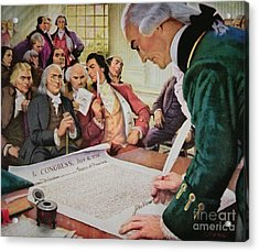 John Hancock Signs The American Declaration Of Independence, 4th July 1776 Acrylic Print