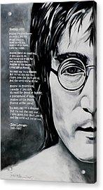 John Lennon - Imagine Acrylic Print by Eddie Lim