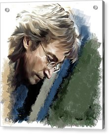 John Lennon Caring To Know Acrylic Print by Iconic Images Art Gallery David Pucciarelli