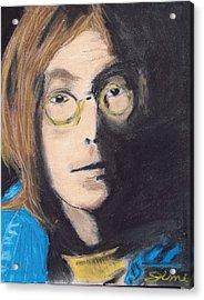 John Lennon Pastel Acrylic Print by Jimi Bush