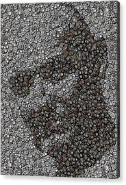 John Locke Dharma Button Mosaic Acrylic Print by Paul Van Scott