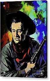 Acrylic Print featuring the painting John Wayne, by Andrzej Szczerski