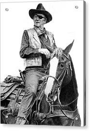 John Wayne As Rooster Cogburn Acrylic Print by Ronny Hart