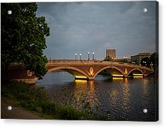 John Weeks Bridge Harvard Square Chales River Sunset Trees 2 Acrylic Print
