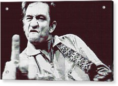 Johnny Cash Beer Cap Mosiac Acrylic Print by Dan Sproul