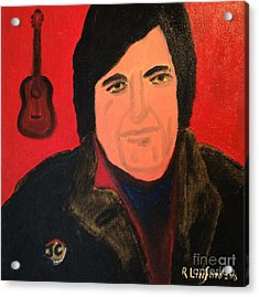 Johnny Cash I Walk The Line Acrylic Print by Richard W Linford