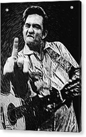 Johnny Cash Acrylic Print by Taylan Apukovska