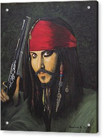Johnny Depp- Captain Jack Acrylic Print by Charolette A Coulter