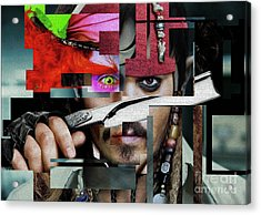 Johnny Depp - Collage Art Matt Acrylic Print by Prar Kulasekara