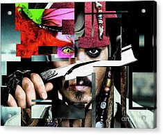 Johnny Depp - Collage  Acrylic Print by Prar Kulasekara