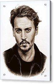 Johnny Depp Sepia Acrylic Print