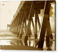 Acrylic Print featuring the photograph Johnny Mercer Pier At Sunrise by Phil Mancuso