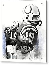 Johnny Unitas  Unitas Acrylic Print by Iconic Images Art Gallery David Pucciarelli