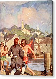 Johnny's Fight With Cherry Acrylic Print by Newell Convers Wyeth