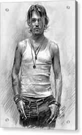 Johny Depp Acrylic Print by Ylli Haruni