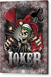 Acrylic Print featuring the digital art Joker Poker Skull by Raphael Lopez