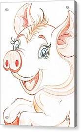 Jolly Miss Piggy Acrylic Print by Teresa White