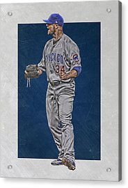 Jon Lester Chicago Cubs Art Acrylic Print by Joe Hamilton
