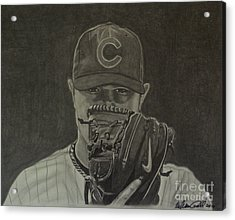 Jon Lester Portrait Acrylic Print by Melissa Goodrich