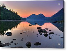 Jordan Pond At Sunset Acrylic Print by Expressive Landscapes Fine Art Photography by Thom