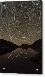 Jordan Pond Star Trails Acrylic Print by Benjamin DeHaven