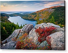 Jordan Pond Sunrise  Acrylic Print by Susan Cole Kelly